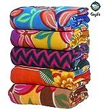 Goyal's Single Bed Multicolor Printed Fleece Blanket - Set of 5