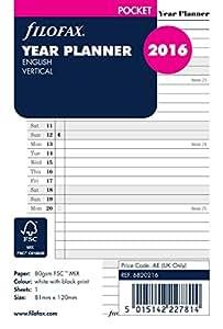 Filofax Planning annuel Vertical 2016 Pocket Recharge pour agenda Organiseur (81 mm x 120 mm) 6820216