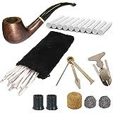 WPERSUVV Set de Pipes à Tabac en Bois, Pipe en Bois Créatif avec Accessoires Fumeur, Cure Pipe, 3-en-1 Racloir en Acier Inoxydable, Nettoyeur de Tuyau, 9mm Filtre à Charbon Actif, Boîtes Cadeau
