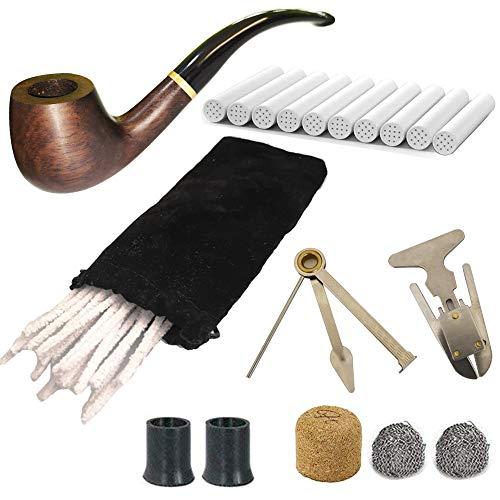 CESFONJER Tabacco Pipa Kit & di Legno Pipa con, Pipe alesatore, 3 in 1 Reamers Tamper e Altri Accessori, Spazzola per la Pulizia
