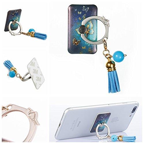 Preisvergleich Produktbild Handyhalterung Handy Ring, Alfort 360° Quaste Griff Halterung Ständer Handy Ring für iPhone, Samsung, Sony, Huawei und Alle anderen Telefone, Tabletten ( Goldener Schmetterling )