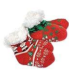 2 Paar Baby Hütten Socken Kinder Home Socks mit Teddyfutter Kuschelsocken Lammfellimitat ABS-Sohle (5554, 12-24 M, Set 3)