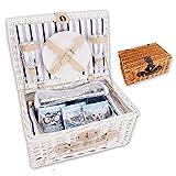 Picknickkorb 'PickPack' mit Kühlfach, Kühlpacks und Geschirr in weiß oder braun (weiß)
