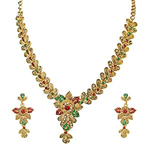 Surat Diamonds Floral Shaped Red, Green & Yellow Stone Necklace & Earring Set for Women (PS258)