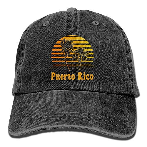 ewtretr Puerto Rico Sunset Palm Trees Denim Hat Mens Plain Baseball Hat Adjustable Unisex Suitable for All Seasons -