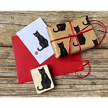 Katze Stempel handgeschnitzt, Katzen Motiv, Holz-Stempel Kätzchen, Haus Tier Stempel, Brief Stempel, Basteln, Kinderstempel, Geschenk