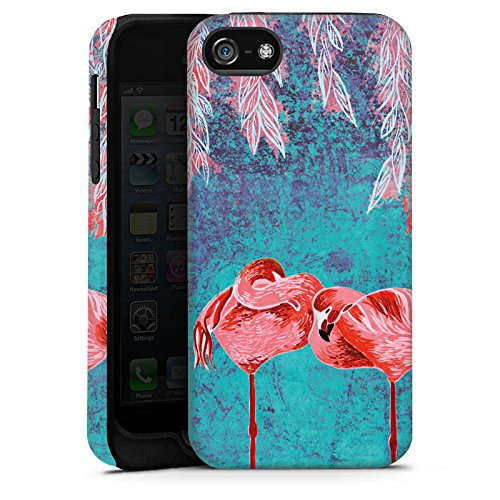 Apple iPhone 5s Housse étui coque protection Été Flamands roses Rose vif Cas Tough terne