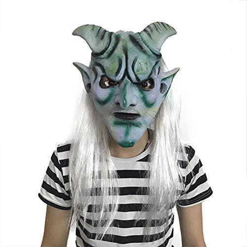 Halloween Horror Maske, Maskierte Silberne Haarmasken,  Dress Up Requisiten Latex Perücke Tanzparty Silver Horn King (Games Up Beängstigend Dress Halloween)