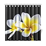 QIUJUAN Home Decor Bath Curtain Blossom Bloom Flower Frangipani Plumeria White Polyester Fabric Waterproof Shower Curtain for