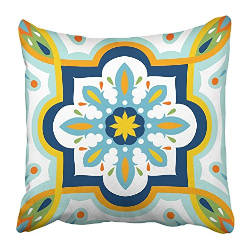 Emvency Pillow Covers Print Blue Flower Oriental Traditional Mediterranean Design Colorful Vintage Abstract Ceramic Elegant Polyester Zippered 20x20 Square Pillow Case For Home Bed Couch Sofa