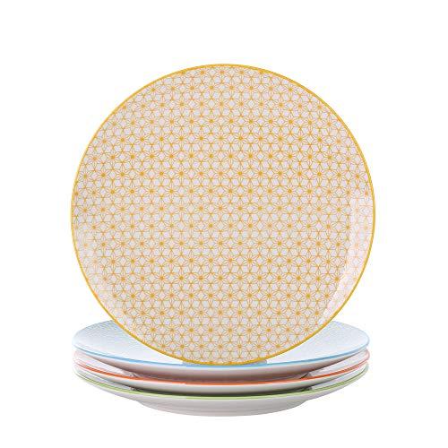 vancasso, série Natsuki, 4pcs Assiettes Plates Porcelaine 27 * 27 * 2.5cm Assiette à Dessert Plat Service de Table Vaisselles 4 Motifs Style Japonais Asiatique