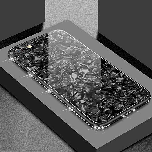 UEEBAI Hülle für iPhone 6 Plus 6S Plus, Muschel Design Handyhülle Ultra Slim mit Eingelegt Glitzer Diamant Strass Gehärtetes Glas Zurück Abdeckung Flexible TPU Bumper Case Anti Kratzer Frauen-Schwarz -