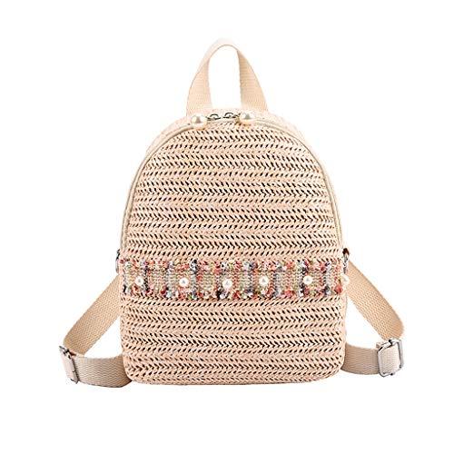 Rucksack Damen Elegant Rucksackhandtaschen Mode Mädchen Schule Student Schultasche Im Freien Reise Backpack Anti Diebstahl Taschen Qmber Kirsche Vielseitige Freizeitreisetasche aus Stroh/C -
