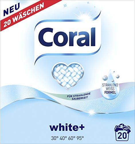 Coral Waschmittel White+ Pulver 40 WL, 2er Pack (2 x 20 Waschladungen)