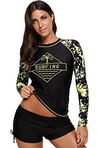 Schwimmshirt Damen UV Schutz Große Größen Bunt Langarm Shirt Rash Guard Oberteil Schwimmen Top