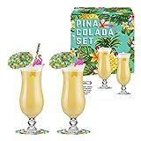 Vintage Küche Company Pina Colada Cocktail Gläser Geschenk Set, transparent, Set von 2