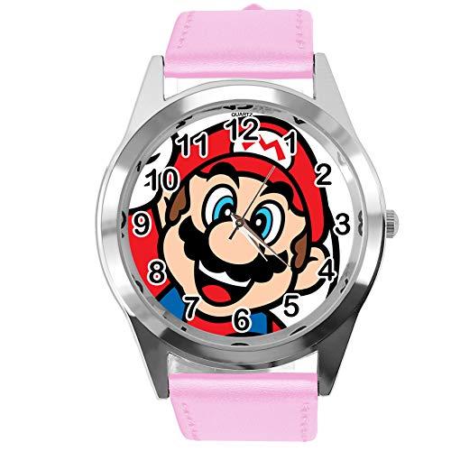 TAPORT® Reloj de Cuarzo Correa de Cuero Rosa para Mario Fans E3