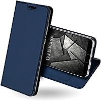 Funda Huawei Honor 10,OJBKase Ultra-Delgado Premium piel sintética Libro Billetera Carcasa Protectora Cartera y Funda Cubierta interior TPU [Soporte plegable] [Ranuras para tarjetas] [Cierre magnético] Protección De Cuerpo Completo Carcasa Case para Huawei Honor 10 (Azul)