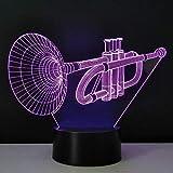 weiaikeke Stereo 3D Nachtlichter Trompete Schreibtischlampe LED Leuchtlampe Neuheit Haushaltsbeleuchtung Energiesparende USB Kreative Gadget Handwerk