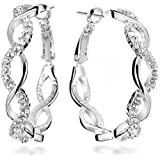Gemini Women's 18K Filled Crystal Round Hoop Pierced Earrings for Women Valentine's Day Gifts Gift Idea Gm045Rg