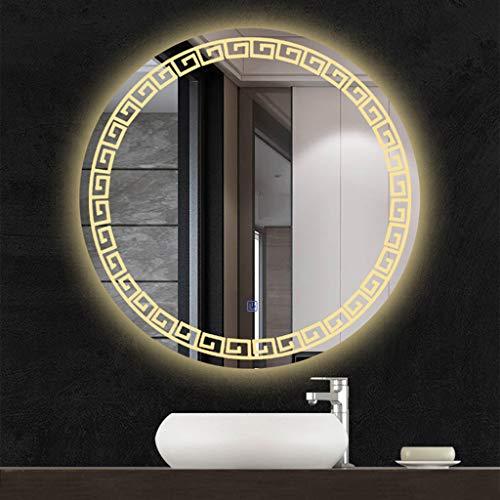 Espejo de baño LED Redondo, Espejo Moderno Montado En La Pared con Luces Y Atenuador Enchufable, Contemporáneo...