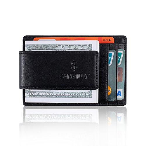 SANXIULY Minimalistische RFID-Magnetische Geldbörse aus echtem Leder und Karbonfaser-Geldklammer mit Ausweisfenster für Damen und Herren - Schwarz - Klein - Card Holder Geld Magnet Clip