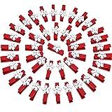 Tatuo 50 Pièces Clips en Bois de Flocon de Neige Mini Pinces à Linge en Bois pour Photos de Mariage de Noël Suspendues Notes Artisanat (Rose)