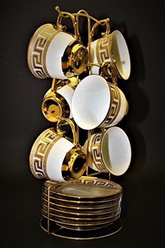 Espressotassen set 12 teile Espressoset Für 6 personen 6er Kaffeset Gold und Silber mit Versace Medusa Muster (Gold)
