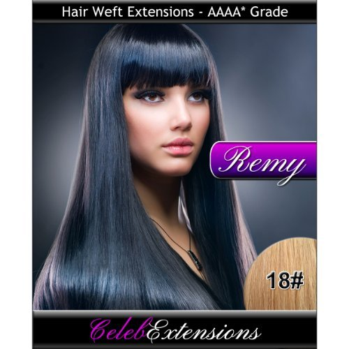 50,8 cm 18 # Blond foncé Remy 100% humains indiens Trame Extensions de cheveux. lisse et soyeux Tissage 1,8 m Poids 100 g. Haute qualité Grade AAAA. par Celebextensions