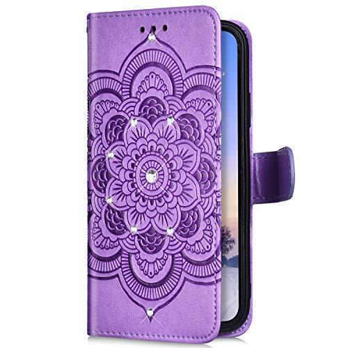 Uposao Kompatibel mit Samsung Galaxy A70 Handyhülle Mandala Blumen Muster Diamant Bling Glitzer Strass Schutzhülle Flip Wallet Bookstyle Klapphülle Leder Hülle Magnet Kartenfächer,Lila