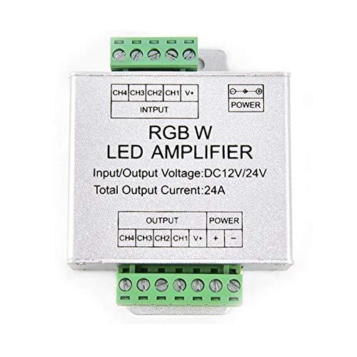 Power-repeater (Tesfish DC12 / 24V 24A Led RGBW Streifenverstärker 6A x 4-Kanal-Ausgang LED RGBW Streifen Power Repeater Console Controller)
