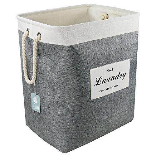 Portabiancheria quadrato pieghevole con maniglie, per biancheria sporca, facile, grigio scuro