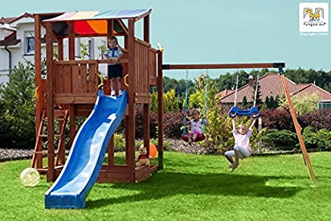 Fungoo Spielturm Kingdom mit Move+ Modul mit Sandkasten, Rutsche und doppelter Schaukel - Blau (Kingdom Modul)