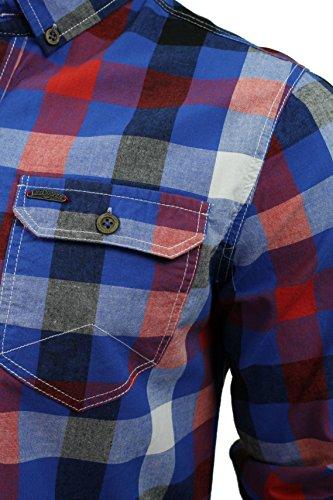 Herren kariertes Hemd von Lee Cooper `Hadleigh`langärmlig True Blue