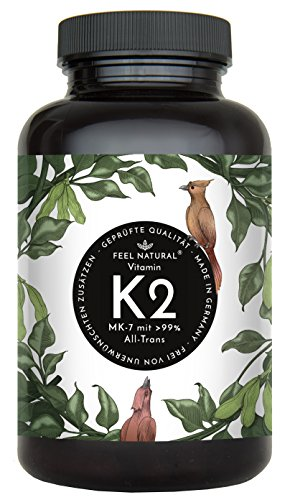 Vitamin K2 MK7-365 Kapseln. Hochdosiert mit 200µg (mcg) je Kapsel. >99{e58182d896758acd2cc2e57d7f86840a110ec5b1537ff384c13ce8d9d751a521} All-Trans, aus Fermentation. Aktionspreis. Laborgeprüft, ohne Zusätze wie Magnesiumstearat. Vegan, hergestellt in Deutschland