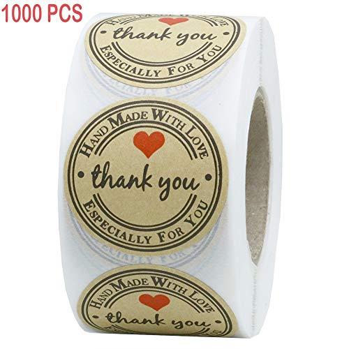 Thank You Sticker, 3,8 cm, Braun, für Dankesstempel, personalisierbare Aufkleber für Geschenke, individuelle Etiketten für Umschläge, handgefertigtes Kraftpapier, Dankesaufkleber, Hochzeit D