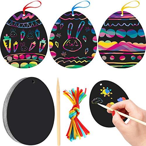 Scratch Art-tools (Yaomiao 24 Stück Osterei Scratch Art für Ostern Geburtstagsparty Dekoration mit Scratch Tool und bunten Band)