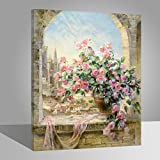 Rihe Holzrahmen?Malen Nach Zahlen DIY Ölgemälde Blumen auf Windowsill Leinwand Drucken Wandkunst Haus Dekoration