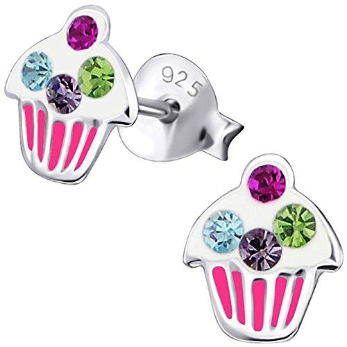 JAYARE Kinder-Ohrstecker Muffin Cupcake 925 Sterling Silber Glitzer-Kristalle rosa pink weiß 8 x 7 mm Mädchen-Ohrringe Silber Dessert