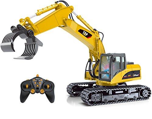 Top Race® ferngesteuerter Bagger als Kettenbagger mit Greifarm Schaufelbagger Baustellenfahrzeuge ferngesteuert Spielzeug für Jungs 215