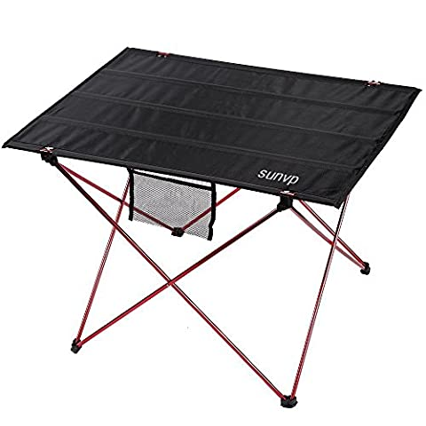SUNVP Table Pliante Ultra-léger Table Pliable en Alliage d'Aluminium Table Portable pour Barbecue/ Camping/ Pique-nique/ BBQ/ Voyage/ Pêche (Rouge, 75 * 55 * 52 CM)