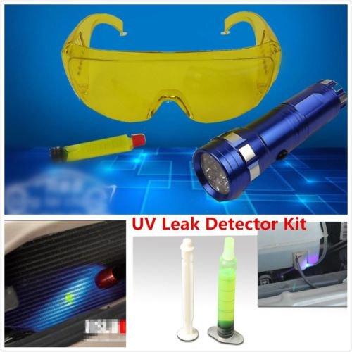 ETbotu UV-Lecksucher Repair Tool A/C Fluid Gas Erkennung Kit LED Flash Light Sicherheit Gläser -