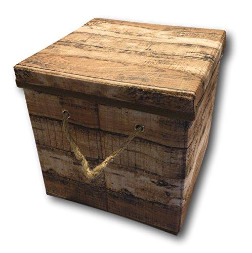Urban Design Aufbewahrungsbox Aufbewahrung Lagerung Box Kiste faltbar mit Deckel und Trageseil aus Stoff in Retro Holz Optik (braun, S)