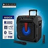 HAISER MIDOX Karaoke Anlage Party Lautsprecher mit LED-Licht integriertem Tablet-Ständer Gitarrenanschluss Akku und Funk-Mikrofon, Disco-Licht, Radio Bluetooth NFC MP3 USB - 2