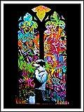 imagenation Banksy 'Praying Boy vitrail sur cour - 60 cm X 80 cm) imprimée sur Repositional auto-adhésive-Poster-Papier peint