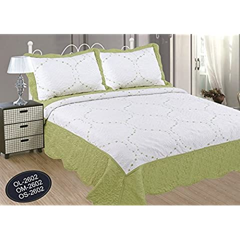 ForenTex - Colcha, Bouti, (OL-2602), cama 150 cm, 240 x 260 cm, Verde Pistacho, bordada, + 2 cojines, colcha verano, colcha barata, set de cama, ropa de cama
