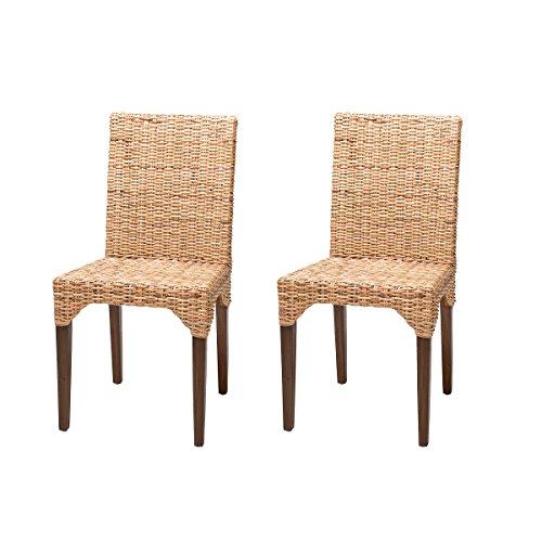 Rebajas : -54% Lote de 2 sillas de Ratan de Comedor Vitor, Baratas y Vintage
