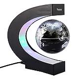 Yosoo C Forma Globo Fluttuante con LED a Levitazione Magnetica, per l'Istruzione, Imparare, Insegnare, Decorazione della Casa Ufficio, Idee Regalo - Nero