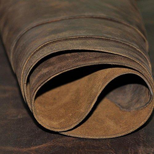 Magic Show – Piel auténtica marrón oscuro con grosor de 2mm aproximadamente, pieza rectangular (21,8 cm x 25,4 cm)