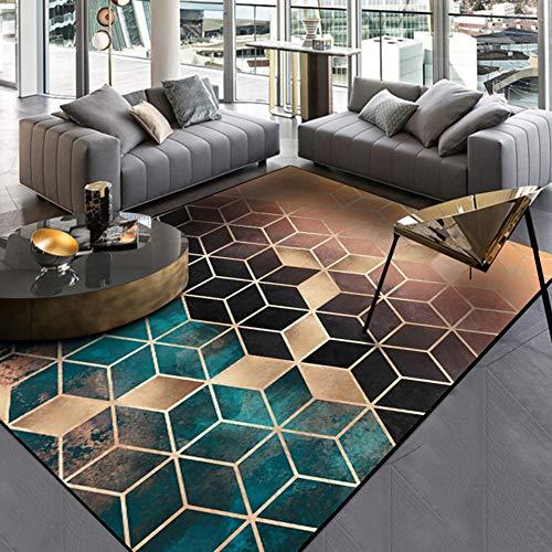 COSY-L Moderner Teppich für Wohn- und Schlafzimmer Dunkelgrün Gold Schwarz Gradient Diamant Gitter für Schlafzimmer Küche Fußmatte Lebendes Badezimmer,A,160 * 230cm -